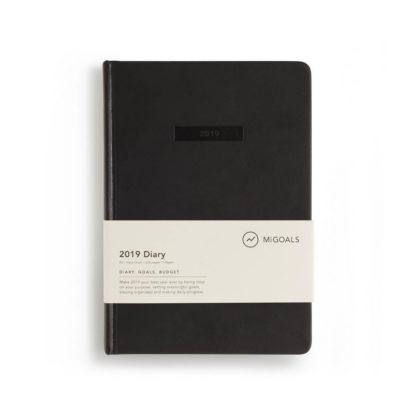 2019 dagbok med planerare, motivation, mål, kalender, genomgångar och framsteg kvartal, årsvis