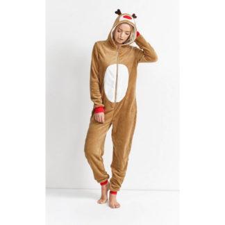 onesie, jumpsuit med renen rudolf som motiv. Med dragkedja på framsidan. Mysig och mjuk fleece