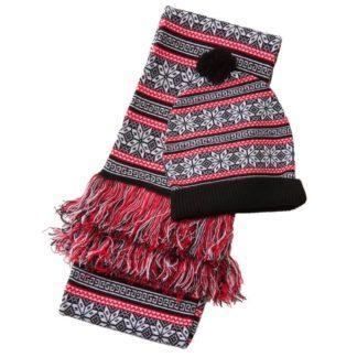 set med halsduk och mössa med juligt nordiskt mönster, svarta, röda och vita färger