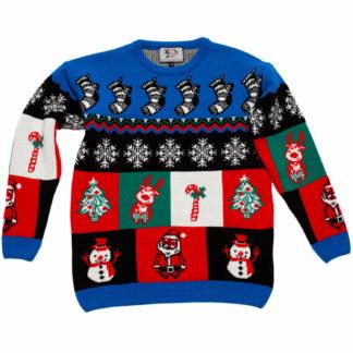 jultröja till barn med renar, granar, tomtar, polkagrisar, snögubbar