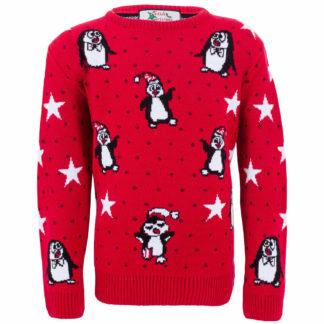 röd jultröja för barn med glada dansande pingviner i tomtemössor