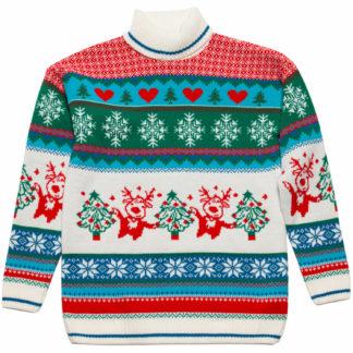 jultröja för barn i glada färger med julgranar och dansande renar