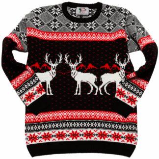 mysig jultröja för barn med renar och klassiska vintermönster i svart och rött