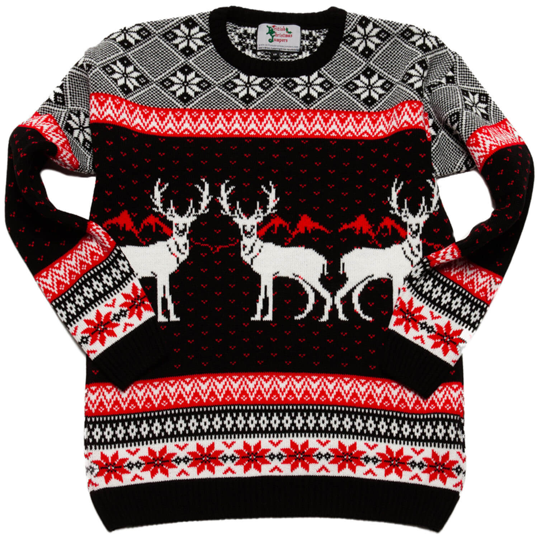 mysig jultröja för barn med renar och klassiska vintermönster i svart och  rött 0740afcc57625