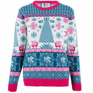 jultröja för dam i vitt, turkos och rosa med ett juligt motiv med julgran och fair isle mönster