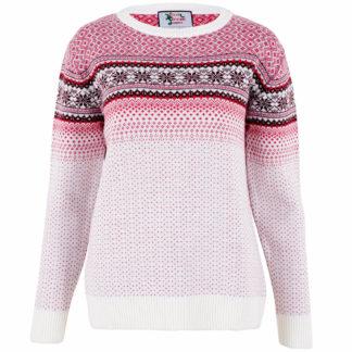 jultröja för dam i vitt och rosa med ett klassiskt fair isle mönster
