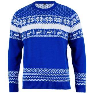 stickad blå jultröja med nordisk design, med renar, snöflingor och fair isle