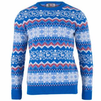 jultröja för herr i blått, rött och vitt med juligt fair isle mönster