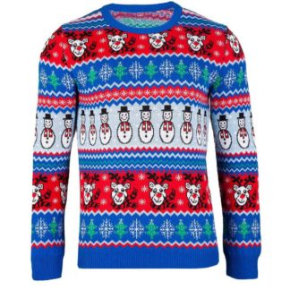 jultröja för herr i blått, rött och vitt med snögubbar, renar, granar och snöflingor