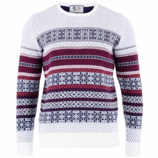 jultröja för herr i vitt och rött med ett klassiskt fair isle mönster