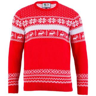 röd jultröja för herr renar och snöflingor perfekt för julfesten eller skidbacken