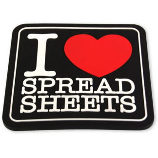 retro glasunderlägg med texten i love spreadsheets