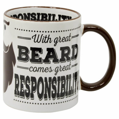 mugg med texten with great beard comes great responsibility