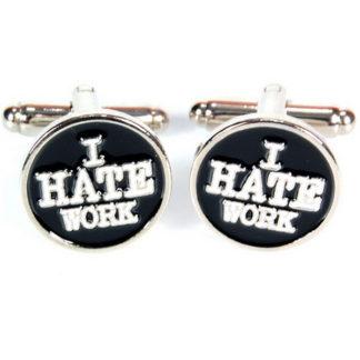 Manschettknappar med texten i hate work