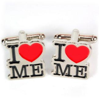 Manschettknappar med texten I Love Me