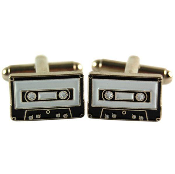 Manschettknappar med kassett-motiv