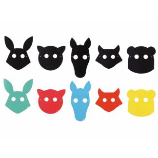 10 stycken masker av griffel papper som barnen kan rita på och bära till kalaset eller lekstunden