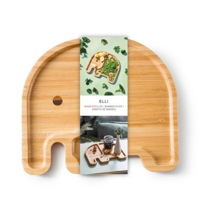 barn tallrik i bambu formad som en elefant, för en rolig måltid för barnen