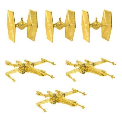 star wars juldekoration, 6 stycken tie fighters och x wings i guld för att hänga i granen som julgranskulor