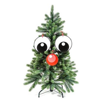 julgransdekoration smiley face, googly eyes. Två stora ögon och en röd näsa till din glada julgran.