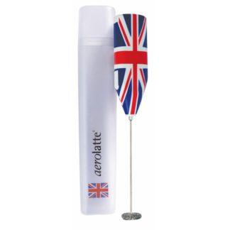 batteridriven mjölkskummare från aerolatte med design i form av brittiska flaggan
