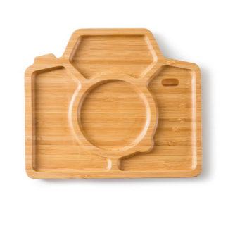 barn tallrik i bambu formad som en kamera med 4 fack, för en roligare måltid för barnen